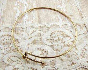 Antiqued Brass Add a Charm Bangle Bracelet Add a Bead Expandable Bracelet Brass Ox - 1