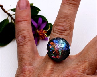 112 Fused dichroic glass ring, adjustable, silver plated, lots of colors