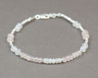 Moonstone ,pink quartz and sterling silver beads bracelet