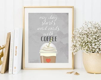 Coffee Print, coffee poster, kitchen wall art, frappuccino print, kitchen print, coffee quote, coffee wall art, typography print
