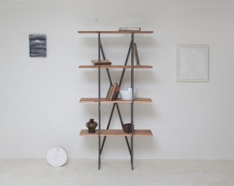 Tall Shenandoah Shelving Unit, Reclaimed Old Growth Wood and Industrial Steel
