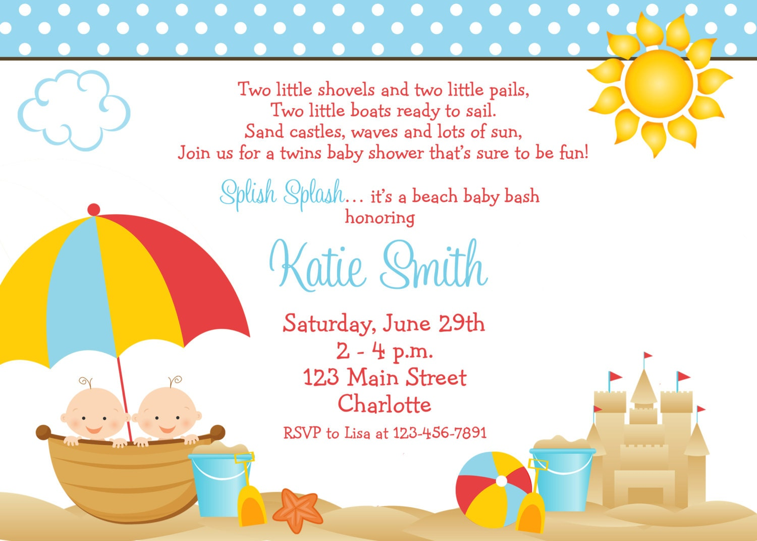 Beach baby shower invitation twins baby shower invitation zoom filmwisefo Image collections