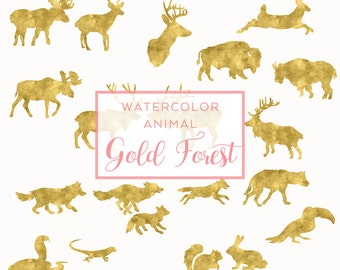 Gold FOREST Animal Silhouette, Digital Download Watercolor Clip Art, Holiday Gold Foil Clip Art, Animal Silhouette, Watercolor graphics