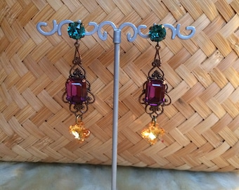 """Retro colorful Baroque earrings, swarovski and brass """"lucky star"""""""