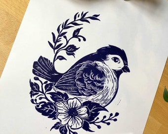Little bird / / original linocut