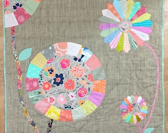 Appliqué Quilt, Hand Quilted Modern Flower Lap Quilt, Sofa Throw or Baby Blanket