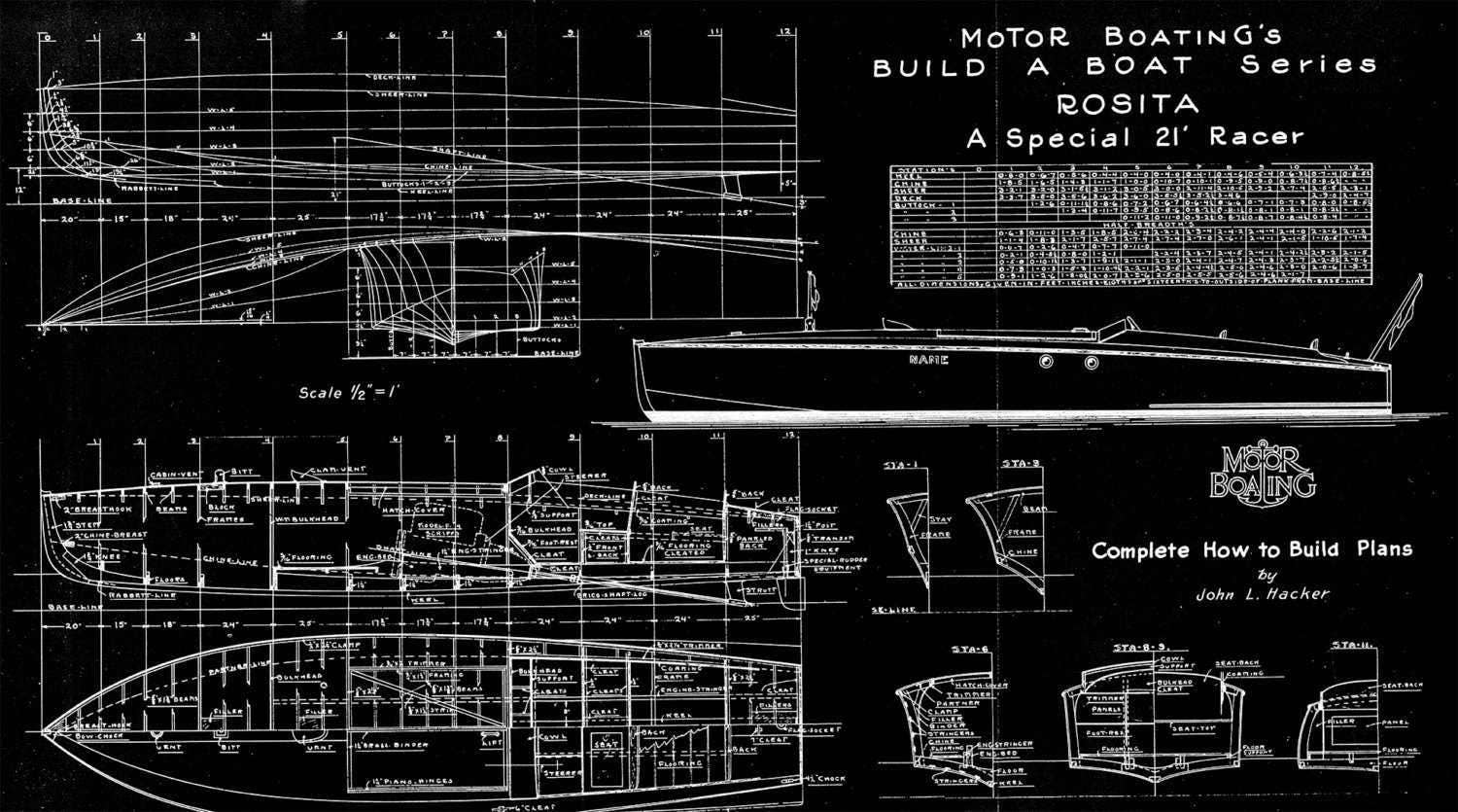 Vintage print of rosita runabout diagram line drawing schematic vintage print of rosita runabout diagram line drawing schematic blueprint on matte paper photo paper or stretched canvas malvernweather Image collections
