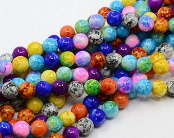 Spray Painted Mixed Colour Glass Round Beads. 6mm, 8mm, 10mm (WL134)