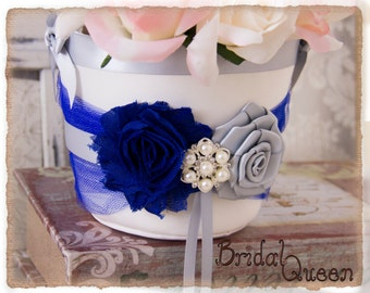 Royal Blue and Silver Flower Girl Basket, Blue Flower Girl Basket, Petal Basket, Wedding Decor, Wedding Accessories, Custom Color Wedding