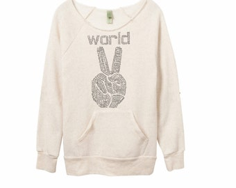 Inspirational, World Peace, mothers day, white shirt basic, womens sweatshirts, cozy sweater, peace sign, off the shoulder, girlfriend gift
