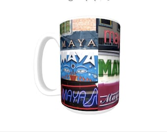 Personalized Coffee Mug featuring the name MAYA in photos of signs; Ceramic mug; Unique gift; Coffee cup; Birthday gift; Coffee lover