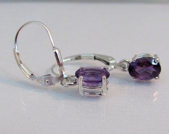 Amethyst Leverback Earrings in Sterling Silver, 7x5mm Amethyst Gemstone Earrings, February Birthstone, Amethyst Jewelry, Purple Earrings