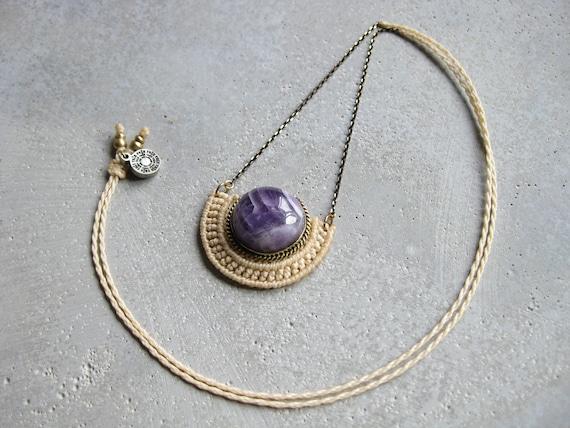 O r ü n . Amethyst . Modern Macrame Brass Necklace . Jewelry © Design by .. raïz ..