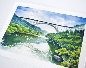 New River Gorge in Summer Watercolor Print - WV Landscape Print - Landscape Watercolor Illustration