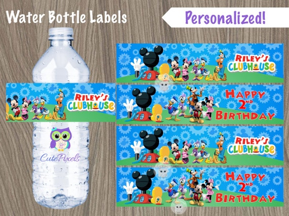 Top Mickey Mouse Clubhouse Water Bottle Labels Mickey Mouse PD43
