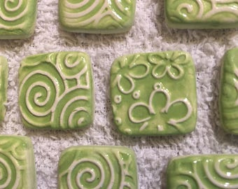 10 Handcrafted Bright Lime Green And White Square Tiles That Can Be Used In Mosaic And Other Mixed Media Projects