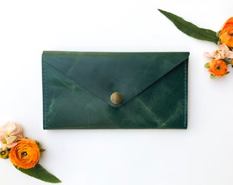 Leather Wallet - Envelope Style - The Penelope - Emerald Green (color variations available)