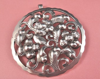 Vintage Kalo Sterling Puffy Brooch and Pendant Flowers and Leaves