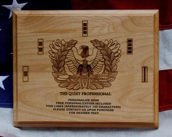 U.S. Army Chief Warrant Officer Plaque, Eagle Rising, The Quiet Professional, 5 lines of personalized text, custom egraving