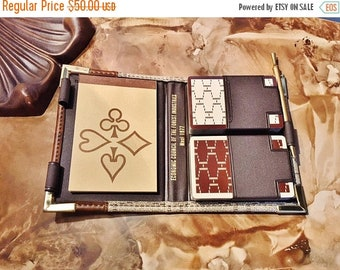 ON SALE - Vintage Travel Organizer Pair of Playing Cards, Score Pad, and Mechanical Pencil