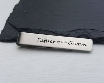 Tie Clip - Stainless Steel Tie Bar - Personalized Tie  Clip - Custom Tie Bar Father of the Groom Gift Father of the Bride Gift