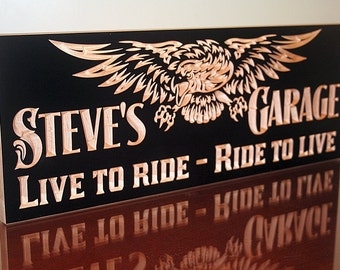Motorcycle Sign, Garage Sign, Guy Gift, Tool Rules Signs, Man Cave Sign, Personalized Garage, Benchmark Signs, Maple LR