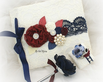 Wedding Guest Book Set Ivory Navy Blue Burgundy Blank Pages Lace Guestbook Vintage Style Signature Book Guests Sign In Book