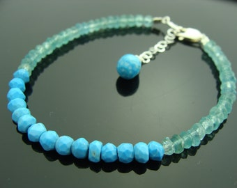 Turquoise and Apatite 925 Sterling Silver Bracelet
