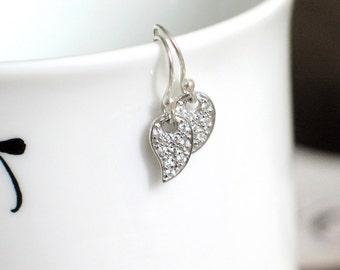 CZ Pavé Earrings | Paisley Leaf Crystal Encrusted | Argentium Silver Earwires | Small Twinkle Earrings | Birthday Gift | Everyday Earrings