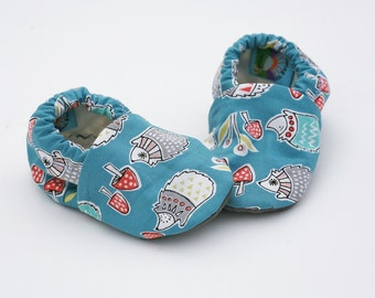 Hedgehog Baby Shoes with Mushrooms on Teal. Organic Baby Soft Sole Shoe.  Waldorf Organic Slipper in Woodland Hedgie Print.