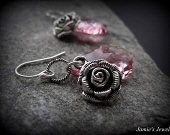 Rose Earrings - Sterling Silver Rose Earrings - Pink Crystal Earrings - Valentine's Day Earrings - Pink Earrings