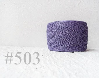 Linen crochet knitting weaving thread  - purple color # 503