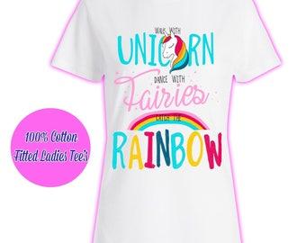 Womans Ladies Girls Tumblr Unicorn Rainbow Pink Glitter Princess Celeb Pug Kids T Shirt