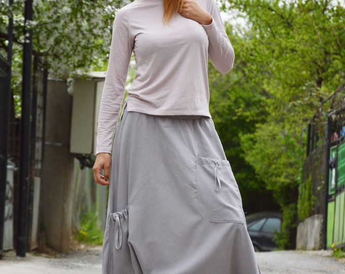 Loose Linen Grey Harem Pants, Extravagant Drop Crotch Pants, Front Pockets Bottom Pants by SSDfashion