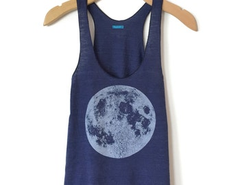 Blue Moon tank top, Women's Moon t-shirt, boho chic clothing, Full Moon tank top, Women's luna lunar shirt, moon yoga clothes, hand printed