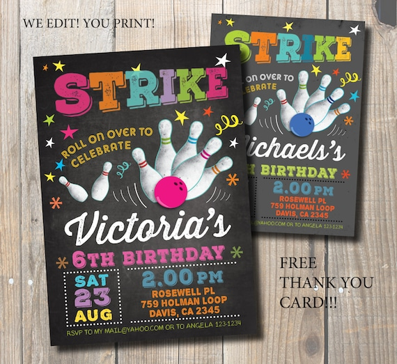 Bowling party invitation bowling birthday invitation bowling party invitation bowling birthday invitation bowling chalkboard invitation diy card free thank you card stopboris Gallery