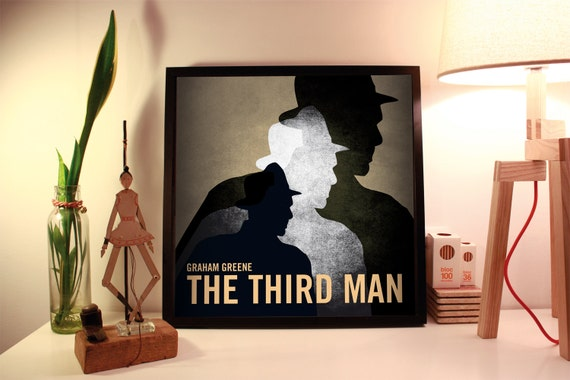 The third man. Graham Greene. Wall decor art. Illustration. Digital print. Book. Poster. 19.69 x 19.69 inc