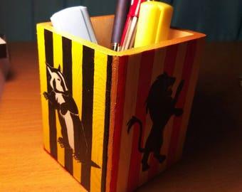 Handpainted Wooden Desk Organizer Harry Potter Fan Hogwarts House Animals Colours Pencil Cup Holder Potterhead
