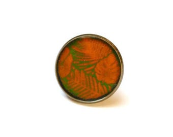 Tropical green leaves and orange copper enamel ring
