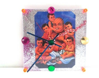 Chinese Buddha And Babies Acrylic Clock, Handmade, Acrylic Clock, Buddha,  Made By Mod.