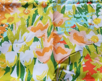 Vintage Twin Flat Sheet Floral Daffodil Percale