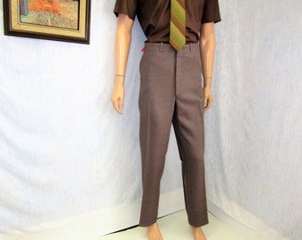 "70s 38"" x 31"" Polyester Mens Flares PANTS Disco Taupe Tradition"