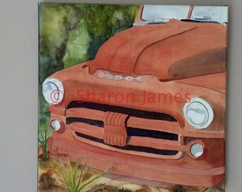 "Smile #2.  1951 Dodge Smile, Acrylic Painting by Sharon James, 12""x12"""