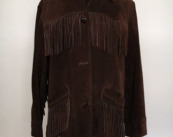 Native American inspired suede leather jacket