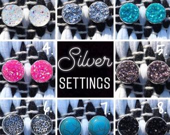 Silver settings//druzy earrings
