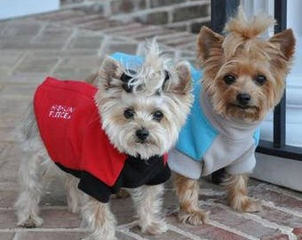 Highline Fleece Dog Coat by Doggie Design - Red/Black or Blue/Gray