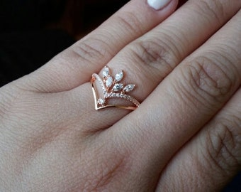 Rose Gold Marquise Multi Stone Diamond Engagement Ring