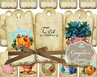 80% Off Spring Sale Shabbic Chic Vintage Tea Time Digital Tags Labels Tea Party Decorations Favor Tags Digital Graphics Tea Art Gift Tea Jou