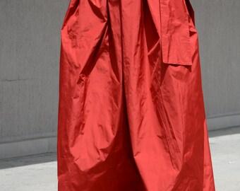 summer long skirt, orange long skirt, high waist skirt, plated skirt, Classy skirt, All seasons skirt, Stylish long skirt, Formal skirt