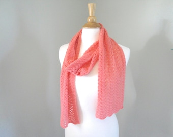Coral Pink Cashmere Scarf, Hand Knit Knitted, Long Light Scarf, Lace Lacy Wrap Scarf, Pure Cashmere, Featherweight Scarf